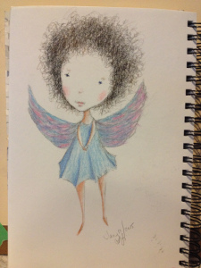 """Sister-Angel"" Cutie-Pie - sketch in my sketchbook - Lorraine Young  - charcoal and pastel pencils"